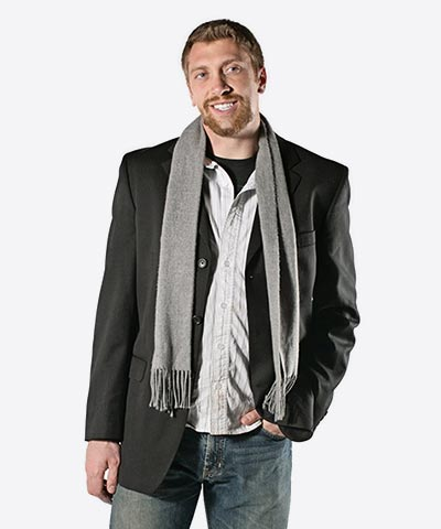 Wool blending coat with scarf for men